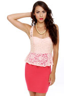Holly Go-Lacey Pink and Coral Red Dress