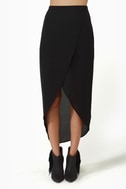 Tulip Season High-Low Black Skirt