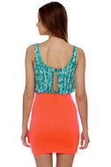 Solstice Party Blue and Neon Orange Dress