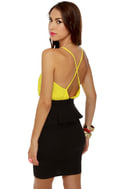 Highbrow and Low Cut Yellow and Black Dress