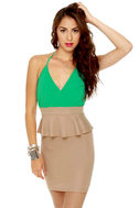 Highbrow and Low Cut Green and Taupe Dress