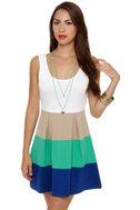 Color Bar Quartet Taupe and Teal Color Block Dress