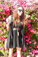 Middle Women Lace Black Dress