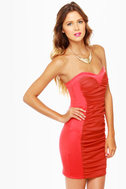 Sweet on Repeat Strapless Coral Dress