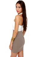 Cut for the Chase Ivory and Taupe Dress