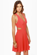 Stuck on You Cutout Coral Red Dress