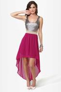 High Sequin-cy Magenta High-Low Sequin Dress