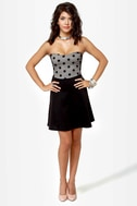 Dot to Have It Strapless Black Dress
