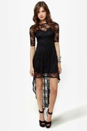 Wish You Were Sheer Black High-Low Lace Dress