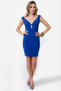 Number One Stunner Cutout Royal Blue Dress