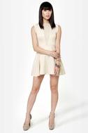Let It V Cutout Beige Dress