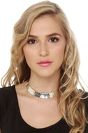 Zad Hammered Silver Collar Necklace