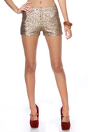 Hot Tamale Train Gold Sequin Shorts