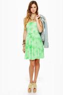 Tied and True Strapless Tie-Dye Green Dress