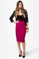 City Sleek-er Fuchsia Pencil Skirt