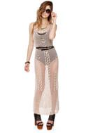 Think Nettin' of It Beige Crochet Dress