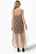 Lace-ies First Taupe Lace Dress