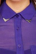 Gentleman Collar Sheer Indigo Blue Top