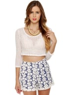 Daisy May Blue and White Lace Shorts