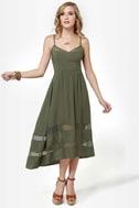 Fresh Rosemary Olive Green Midi Dress