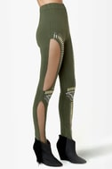 Did I Stud-her? Studded Olive Green Leggings