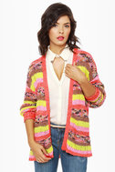 Indie Pop Neon Striped Cardigan Sweater