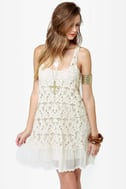 Black Sheep Star Gazer Cream Crochet Dress
