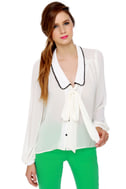 What a Doll Ivory Button-Up Top
