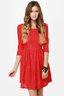 Sweet Melody Red Lace Dress