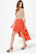 For Keeps Taupe and Orange Dress