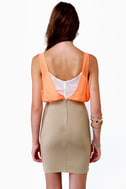 Triple Threat Orange and Taupe Dress