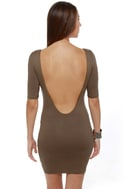 Plunges Past Brown Dress