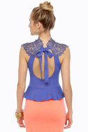 Long Story Short Lace Periwinkle Blue Top