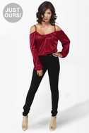 Hot and Cold Burgundy Top
