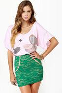 One Rad Girl Brooke Teal Lace Mini Skirt