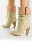 Qupid Tabu 13 Beige Herringbone Cuff High Heel Boots