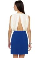 Spring Water Color Block Blue Dress