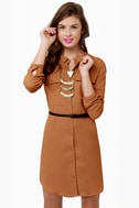 At Your Leisure Brown Belted Shirt Dress