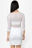 Meshy Business Cutout Ivory Dress