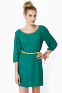 Gem of the Woods Belted Teal Dress
