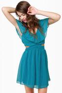 Ruffle, Shuffle, and Roll Teal Blue Dress