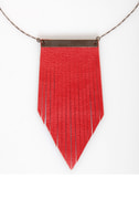 Amy Waltz Flirting With Fringe Red Leather Necklace