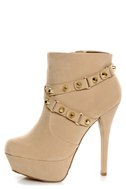 Dollhouse Slammin Nude Strapped and Studded Platform Booties
