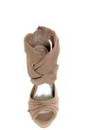 Anne Michelle Verdict 52 Taupe Stretchy Mesh and Suede Heels