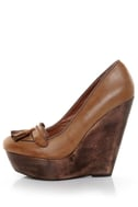 Angeles Lola Tan Tassel Platform Wedge Loafers
