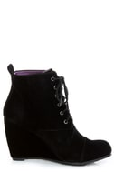 Blowfish India Black Fawn Lace-Up Wedge Booties