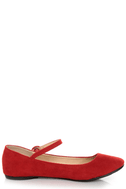 Doby 4 Red Velvet Mary Jane Ballet Flats