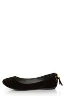 Doby 6 Black Studded Heel Zipper Ballet Flats