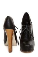 Bonnibel Elodie Black Lace-Up Oxford Heels