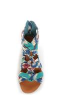 Bamboo Denisa 47 Blue Ikat Strappy Sliver Wedge Sandals